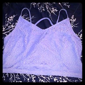 Forever 21 crop lace cami purple XL